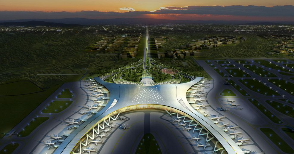 Chongqing Jiangbei International airport. Airport expansion in eastern area. Design of terminal 3